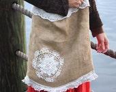 Shabby burlap bag,market tote,beach bag,chic-cottage