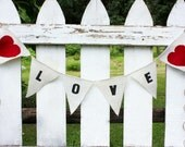 Love burlap banner with red hearts