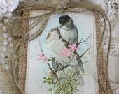 Vintage Birds,Burlap banner