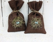 Chocolate Birdnest bags filled with Lavender buds