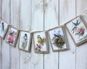 Vintage Bird Garland,burlap,shabby chic,cottage
