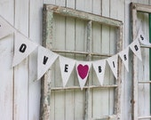 Love Birds banner with fushia felt heart