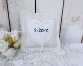 Burlap pillow customized with your wedding date