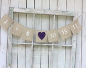 Burlap banner personalized with you initials and wedding date,heart color of your choice