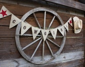 Cowgirl western banner with red stars
