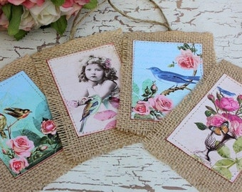 Birds and roses-hang tags,burlap,shabby chic,cottage