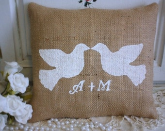 Personalized burlap pillow with doves