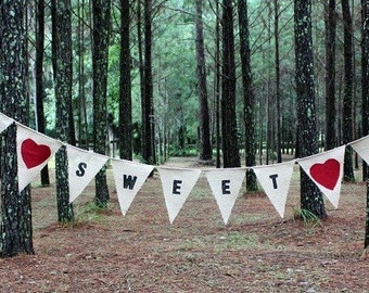 LOVE SWEET LOVE burlap banner with hearts