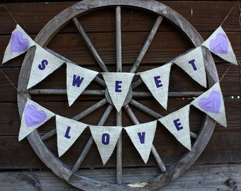 Sweet love banner with lavender hearts