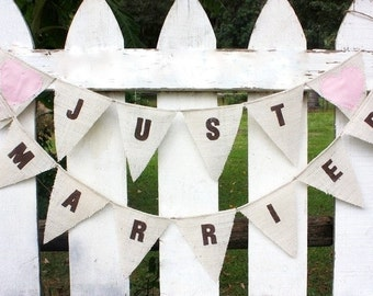 JUST MARRIED -brown font with pink fabric hearts