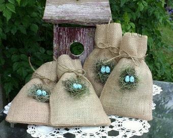 Bird nest gift bags, burlap