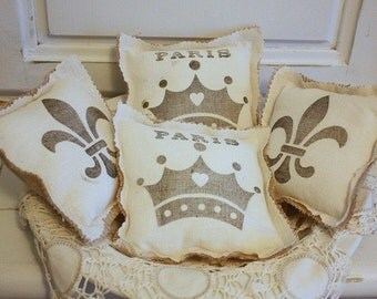 French inspired burlap pillows made with vintage feedsacks