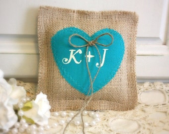 Burlap wedding pillow with aqua blue heart,personalized with your initials,teal blue