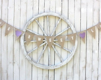 Love sweet love burlap banner with lavender fabric hearts