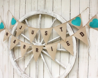 Just Married banner with aqua blue fabric hearts