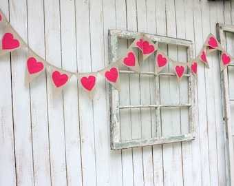 Heart garland ,hot pink