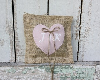 Burlap pillow,ring bearer with pink heart