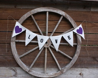 Love burlap banner with purple hearts