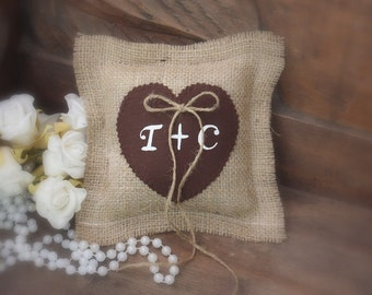 Ring Bearer Pillow with a chocolate heart personalized with your initials