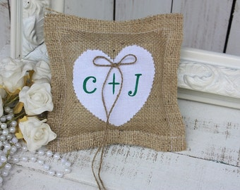 Rustic ring bearer pillow customized with your initials in green