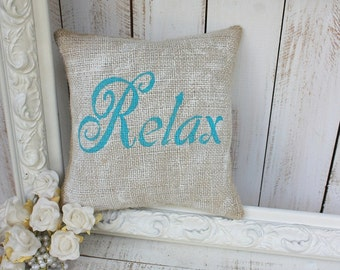 RELAX shabby cottage pillow