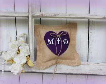 Rustic Pillow customized with your initiials, dark purple heart