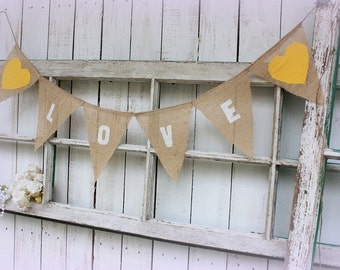Love banner with yellow hearts