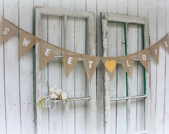 Sweet Love garland with yellow fabric hearts