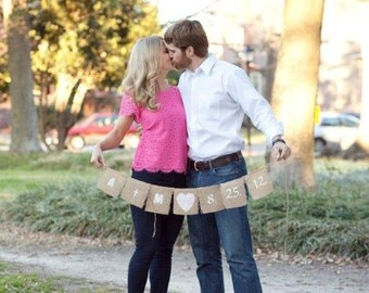 Photo prop customized with your wedding date,Any color of your choice