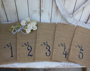 Table Numbers 1-10 favor bags,wine bags rustic