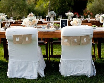 Mr. and Mrs. chair signs as seen in Style me Pretty