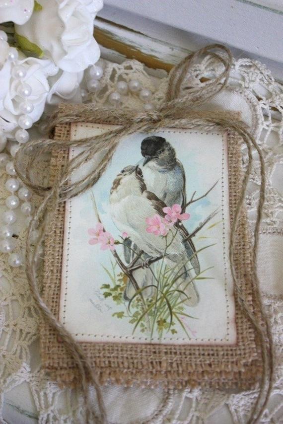 Vintage Bird banner,burlap