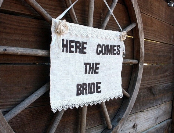 Here Comes The Bride banner embellished with handmade roses and lace