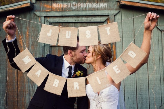 Just Married photo prop as seen in Gala Wedding Magazine