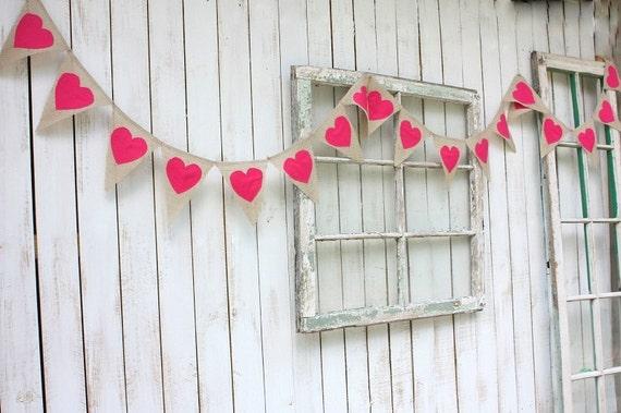 Heart garland ,hot pink