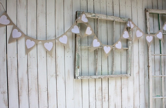 Shabby cottage  10 foot Heart garland