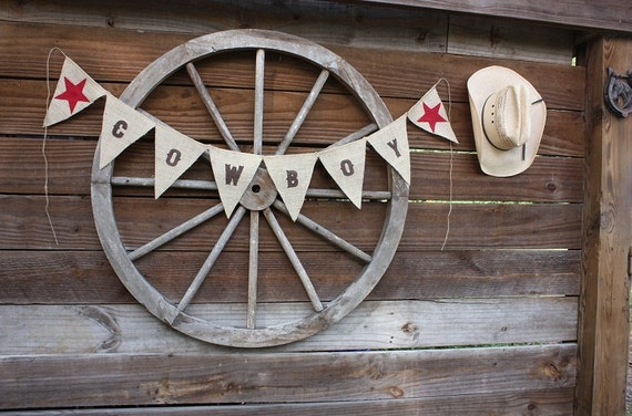 Cowboy Western style banner,photo prop with red stars