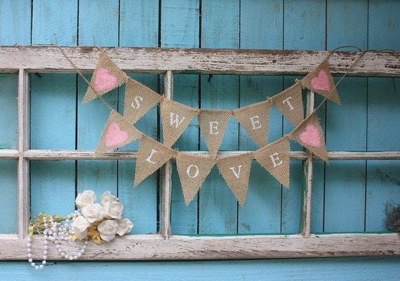 SWEET LOVE mini garland,cake topper,shabby cottage
