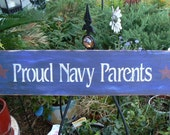 PROUD NAVY PARENTS Americana wood sign Very primitive USN