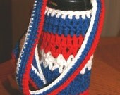 4th of July cozy / Hands-free Skoozie//Skoozy with strap / Handmade can cozy / game day / Crochet baby bottle holder