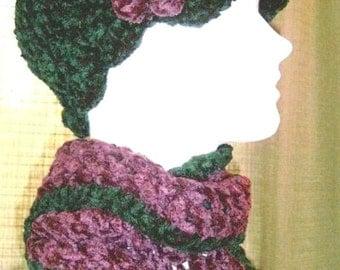 Handmade Newsboy Hat in Forest Green / Hand Crocheted Visor / Chenille Cap / Cloche / Beanie with brim