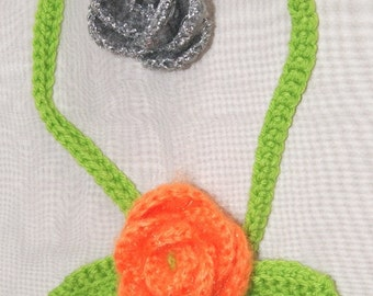Orange Rosebud Statement Necklace / Hand Crochet Coral and Green choker / any color Rosette  / eco friendly accessory / vegan