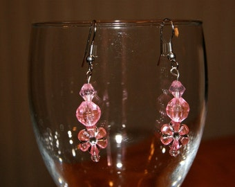 Sparkly Flower and Crystal Dangle Pink Earrings