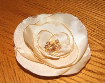 Silk Flower Hair Clip / Handmade Silk Flower Brooch / Bridal Beaded Silk Hair Acceccory / Beaded Brooch / Snood / Ponytail Holder