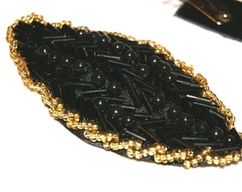 Hand Beaded Black Gold Headband / Satin Leaf / Hairpiece / Applique / Hand Beaded Feather Hair band / Fascinator / Barrette / hair clip