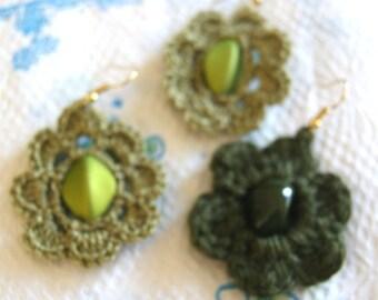 Hand Crochet Olive Green Earrings /  handmade flower earrings / Olive Green earrings with pretty bead