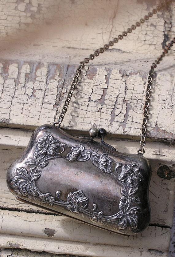 antique silver art nouveau poppy  purse....SALE was 68....
