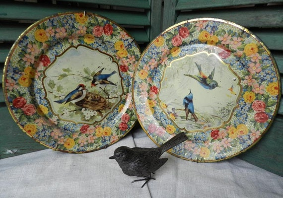 birds and nests...old chintz metal plates....pair....SALE...was 49..