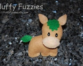 Morimo the Horse - Stuffed Felt Animal Magnet/Keychain/Ornament (Brown/Green)