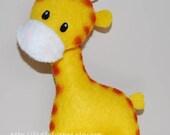 Jack the Giraffe Stuffed Felt Animal Magnet/Keychain/Ornament (Yellow)